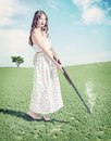 Young girl shot a hat beautiful hunter creative concept photo and cg elements combinated Royalty Free Stock Photography