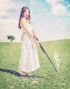 Young girl shot vintage card syile beautiful hunter creative concept photo and cg elements combinated Royalty Free Stock Images