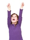 Young girl shouting with arms raised close up portrait of a isolated on white background Stock Photo