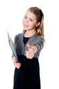 Young girl showing thumb up isolated on white background Stock Images