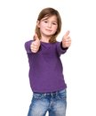 Young girl showing thumbs up close portrait of a on isolated white background Royalty Free Stock Photo