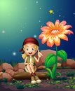 A young girl sitting above a log near the giant flower illustration of Stock Images