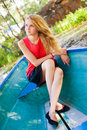Young girl sitting in the boat Royalty Free Stock Image