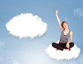 Young girl sitting on cloud and thinking of abstract speech bubb pretty bubble with copy space Stock Photos