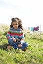 Young Girl Sitting Outside In Caravan Park Stock Photos