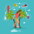 Young girl skateboarding next to palms. Vector illustration in flat style. Urban citizen character. Skateboard, phone Royalty Free Stock Photo