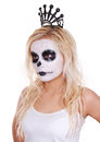 Young girl in skull makeup with crown Royalty Free Stock Image