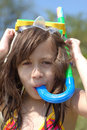 Young girl with snorkel Stock Image