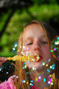 Young girl soap bubbles Royalty Free Stock Photo