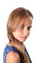 Young girl with sober look long hair posing a Stock Photos