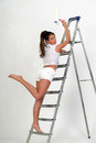 Young girl on a stepladder Royalty Free Stock Photography