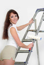 Young girl on a stepladder Stock Photography
