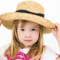 Young girl in straw hat Stock Photo