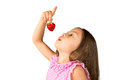 Young girl with a strawberry beautiful long hair posing fresh isolated Stock Image