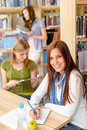 Young girl studying at high school Royalty Free Stock Photography