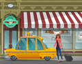 Young girl with suitcase goes in the New York taxi for a working trip on the background of cafe.