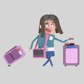 Young girl with suitcases.