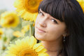 Young girl with sunflower outdoors Royalty Free Stock Photo