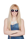 Young girl with sunglasses isolated on a over white background Stock Photography