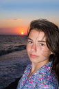 Young girl and sunset Royalty Free Stock Photo