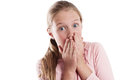 Young girl with suprised look hands over mouth looking to camera Royalty Free Stock Photo