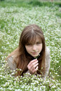 Young girl surrounded with  a lot of white flowers Stock Photography
