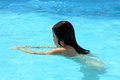 Young girl swimming pool Stock Photo