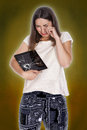 Young girl tablet broke crying over broken Stock Image