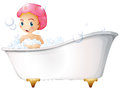 A young girl taking a bath illustration of on white background Stock Images