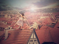 Young girl on top of the roof photomanipulation concept digital graphic Royalty Free Stock Image