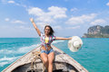 Young Girl Tourist Sail Long Tail Thailand Boat Ocean Sea Vacation Travel Trip Royalty Free Stock Photo
