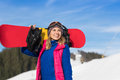 Young Girl Tourist Snowboard Ski Resort Snow Winter Mountain Happy Smiling Woman On Holiday Royalty Free Stock Photo