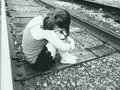 Young Girl On Train Tracks Royalty Free Stock Photo