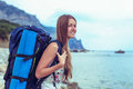 Young girl traveler get to the point Royalty Free Stock Photo