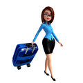 Young girl with traveling bag d rendered illustration of Stock Photography