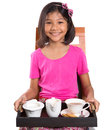 Young girl with tray of tea ii asian malay a a cup sugar and milk Stock Image