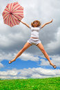 Young girl with an umbrella Royalty Free Stock Photography