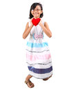 Young girl valentine xiii malay asian holding a day heart shape object Stock Image