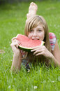 Young girl with watermelon Royalty Free Stock Image