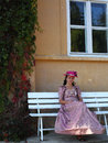 Young girl wearing a baroque dress Royalty Free Stock Image
