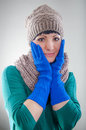 Young girl wearing hat and gloves Stock Image