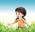A young girl wearing an orange sando above the hill illustration of Royalty Free Stock Photos
