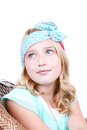 Young girl wearing vintage headband fashionable fabric isolated on white Royalty Free Stock Images