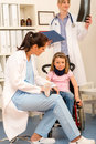 Young girl on wheelchair visit doctor Royalty Free Stock Images