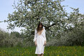Young girl in white dress near blooming apple tree