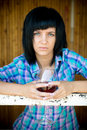 The young girl with a wine glass portrait in destroyed building Royalty Free Stock Photo