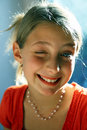 Young girl winking Stock Image