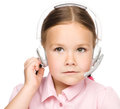 Young girl is working as an operator at helpline Royalty Free Stock Photos