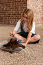 Young girl working on school science project Royalty Free Stock Photo