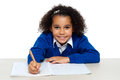 Young girl writing copying notes Royalty Free Stock Images